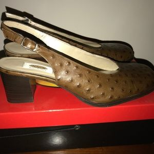 Brown leather sling back pumps from Talbots